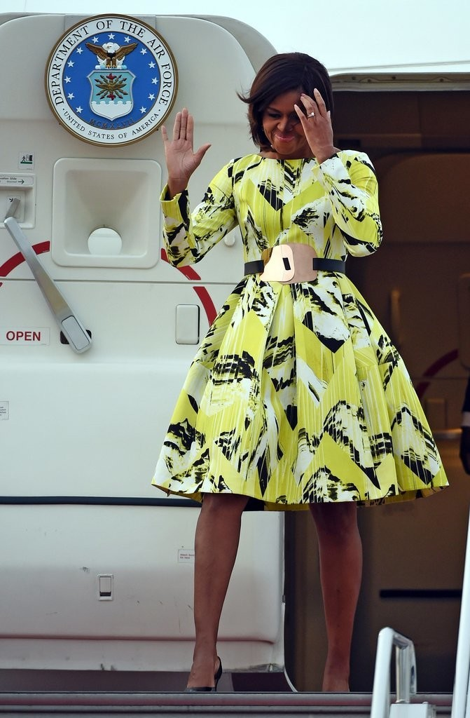 Michelle-Arrived-Tokyo-Wearing-Fall-2014-Kenzo-Dress
